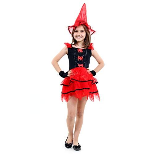 Fantasia Bruxa Fashion com Aranha Infantil 23391-M Sulamericana Fantasias Vermelho/Preto M 6/8 Anos