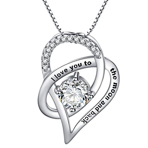 I Love You to The Moon and Back Necklace Heart Drop Pendant Necklaces Box chain Crystal for Girls Women