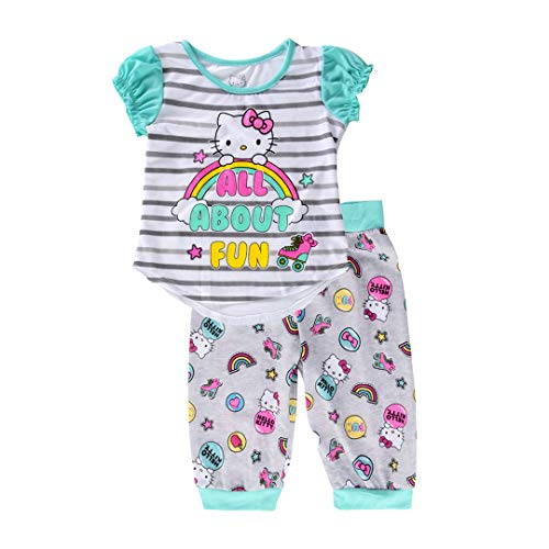 Hello Kitty Girls' Big' All About All About Fun 2 Piece Capri Pajama Set, Teal, Medium ()