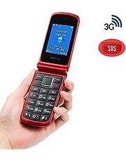 Ukuu 3G Telefono Cellulare a Conchiglia per Anziani, Tasti Grandi, Batteria di Grande Facile da usare con SOS - Rosso