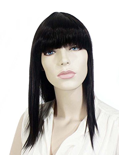 20in. Dark Brown Synthetic Hair Replacement (80s Feathered Hair)