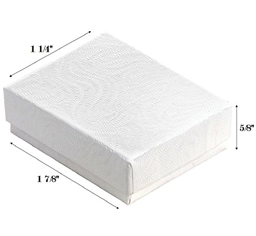 White Swirl Cotton Filled Jewelry Boxes Various (100, 1 7/8