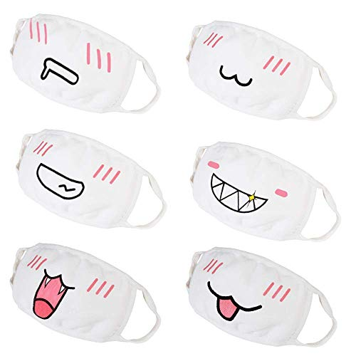 DECARETA 6 Packs Mouth Masks Unisex Cute Face Mouth Masks Cotton Anti-dust Anime Masks for Ski Cycling Camping (White)