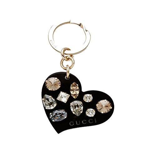Gucci Black Plexiglass Heart Key Ring Charm with Swarovski Crystals 354361