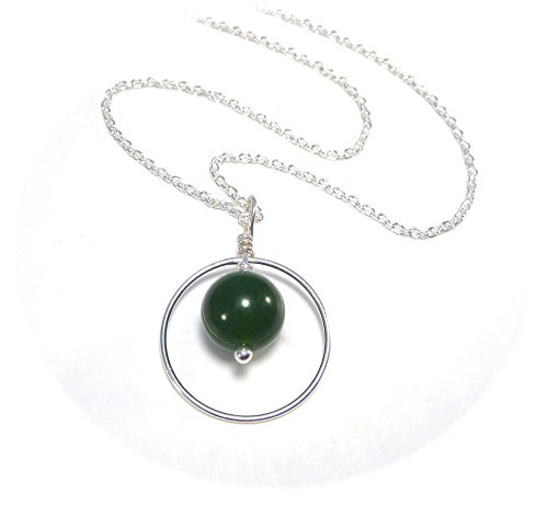 Jade Twisted Necklace - Modern Jade Necklace with Silver Circle Pendant