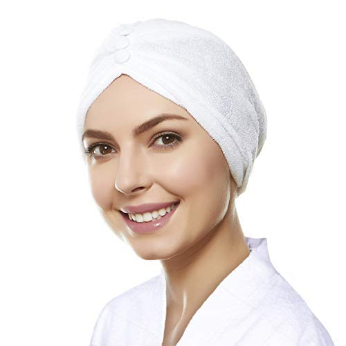 Soft Terry Cloth Turban Head Cover with Reversible Knot or Button Front - White ()