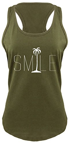Tree Graphic - Comical Shirt Ladies Racerback Tank Smile Palm Trees Graphic Tee Beach Bum Ocean Graphic Tee Military Green L