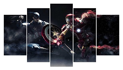 LMPTARTTM-50x28-inches-Print-Captain-America-vs-Iron-Man-Movie-Poster-Modern-Home-Decoration-Wall-Art-Picture-For-Kids-Children-Room-Wall-Decor-Print-Painting-On-Canvas-Art-Prints-Framed-Painting