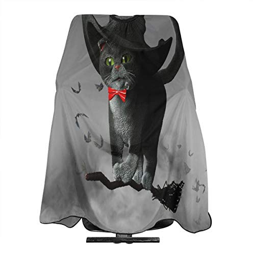 3D Illustration Of Cat Wearing A Witches Hat On Halloween Flying On A Broom Professional Salon Cape Polyester Haircut Apron Hair Cut Cape Waterproof Hairdresser Wai Cloth Hairdressing Wrap for Adult/W]()