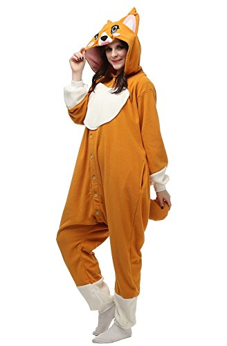 OLadydress Corgi Animal One-piece Pajamas, Unisex Adult Women Men Cosplay Costumes Orange Medium (Halloween Corgi)