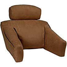 BedLounge (Hypoallergenic, Regular Size, Microsuede Cover, Cinnamon Brown Color): The Ultimate Reading Pillow, Back Support Pillow, TV Pillow and More