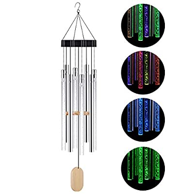 Kearui Solar Wind Chime Light Outdoor, Memorial Wind Chimes with Colorful Light, Housewarming Gift, Garden, Yard, Home Decor
