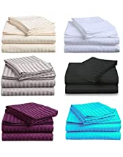 Premium Quality 1000TC Egyptian Cotton Queen or King Size Bed Sheet Set (Stripe). 4 Pieces (Flat, Fitted and 2 Pillow Cases) - New