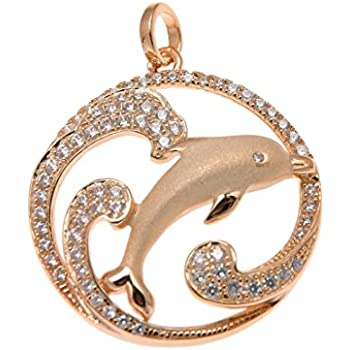 925 Sterling silver yellow rose gold tricolor plated Hawaiian dolphin oval pendant