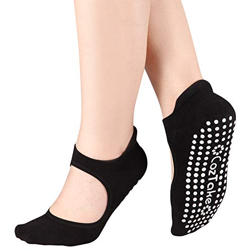 (Yoga Socks for Women Non-Slip Socks with Grips for Pilates Barre Ballet Fitness(Black1))