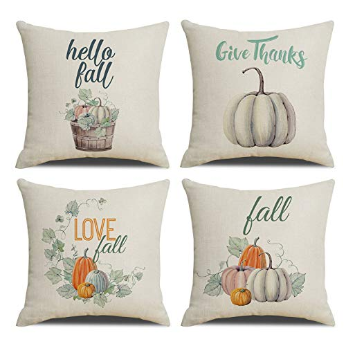 Set of 4 Happy Fall Pillow Covers Give Thanks Pumpkin Pillowcases for Couch Pillow Fall Decor Pillow Covers 18 x 18 in