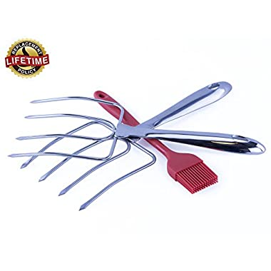 Stainless Steel Turkey Lifters, Heavy Duty Turkey Forks, Lifetime Guarantee. Bonus Free Silicone Basting Brush. Modern Strong Poultry Lifters - Ideal Turkey Carvers, Ergonomic, Polished Turkey Claws, Meat Prongs, Dishwasher Safe - Easy Hold.