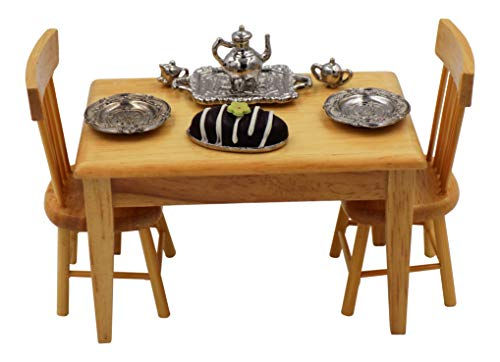 Wooden Dollhouse Dining Table & Chairs - Miniature Doll House Furniture & Dollhouse Accessories Set 1:12 Scale - Doll Kitchen Food Minis -Silver Teapot, Cream & Sugar Serving Set, Cake & Pewter Plates