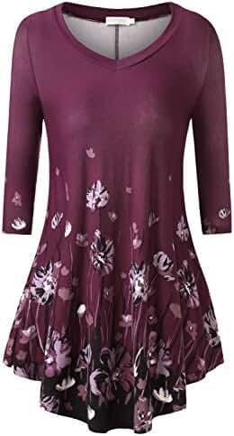 BAISHENGGT Women's Long Sleeve Flared Tunic Top