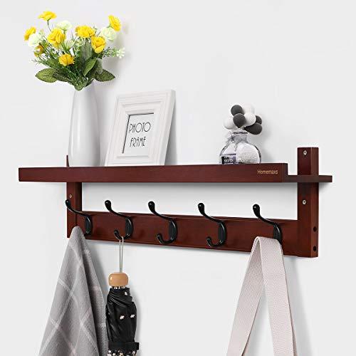 Homemaxs Coat Rack Shelf, Coat Rack Wall-Mounted Bamboo Entryway Shelf Rack with 5 Alloy Dual Hooks for Hallway Bathroom Living Room Kitchen, Retro Color (29 -