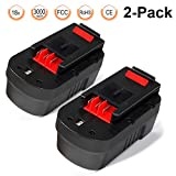 LENOGE 18V 3.0Ah NI-MH Replacement Battery Pack for Black & Decker HPB18 HPB18-OPE 244760-00 A1718 FSB18 FS18C FS18BX FS180BX Outdoor Cordless Power Tools(2-Pack)