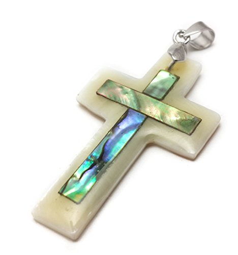 Small Catholic Mother Of Pearl Shell Crucifix Pendant Handmade Cross Jerusalem