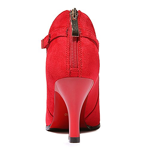 Alti Pompe Dell'inarcamento Piattaforma Splendida Bootie Taglio Rosso Cinghia Dello Stiletto Della mac Appuntita Punta Talloni U wqFwgH