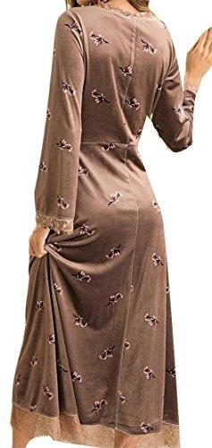 Cromoncent Swing V Lace Floral Dresses Khaki Patchwork Neck Elegant Printed Velvet Women rZwq4r