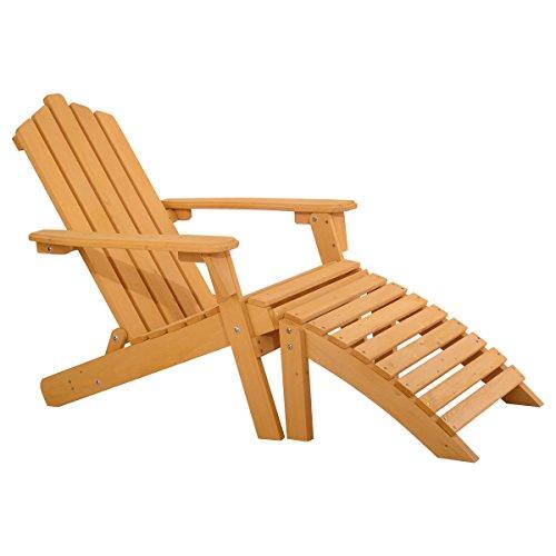 Wood Adirondack Chair w/ Ottoman Outdoor Patio Deck Garden Lounge Furniture (Breezesta Adirondack)