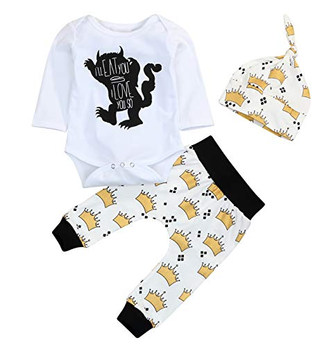 Newborn Baby Boy Clothes Monster Cartoon Letter Rompers Jumpsuit Tops Pants Clothes (12-18 Months, Crown/80-90) -