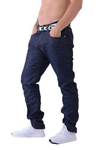 Cotone Gamito Lavaggio Uomo Con Scuri Crosshatch Regular Denim Di Capi Dritta Marca Jeans Gamba Gratis Cintura Z1xFIaqH