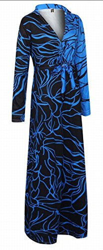 Jaycargogo V-cou Des Femmes De Taille Plus Impression Numérique Longue Robe Maxi Taille Cravate Manches 1