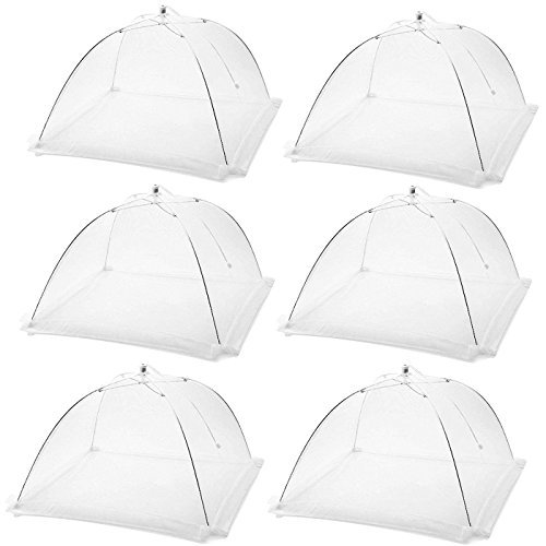 Dreecy (6 Pack) Large Pop-Up Mesh Food Covers for Outdoors,Screen Net Food Cover Tents Protectors for Bugs, Mosquitos at Parties,Picnics,BBQs - Reuseable and Collasible