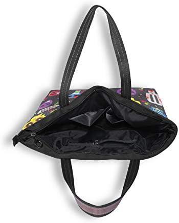 ISAOA Grand sac fourre-tout pour femme avec fermeture éclair Sac de plage Sac de voyage décontracté L (motif crâne floral)