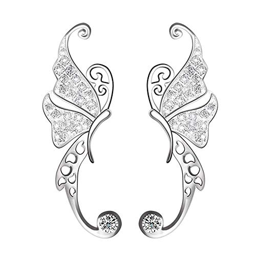 Ear Cuffs Crawler Earrings S925 Sterling Silver Ear Climber Butterfly Diamond Cubic Zircon Stud Hypoallergenic Earring (butterfly ear cuff)