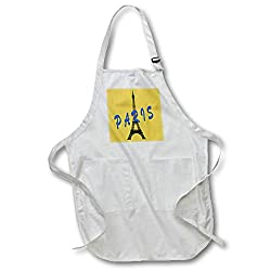 3dRose RinaPiro Patterns - Eiffel tower. Paris. Gold background. - Full Length Apron with Pockets 22w x 30l (apr_268756_1)