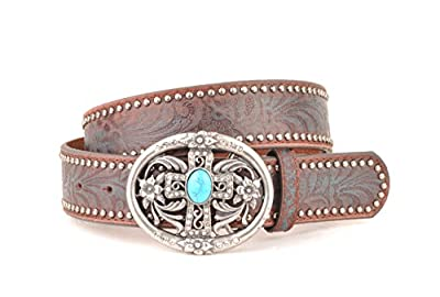 Womens Western Brown with Blue Embossement Leather Belt Cross with Blue Stone Buckle