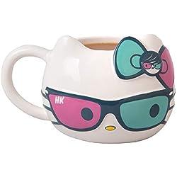 Taza de café de cerámica con diseño de Hello Kitty con bonitas anteojos de sol y lazo - Sanrio - Grande 20 onzas
