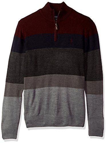 U.S. Polo Assn. Men's Double Striped 1/4 Zip Sweater, Eggplant, Large by U.S. Polo Assn.