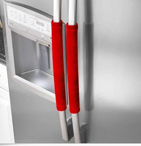 Price comparison product image 2PCS Home Decor Refrigerator Door Handle Covers Keep Kitchen Appliance Fridge Oven Clean (Red)