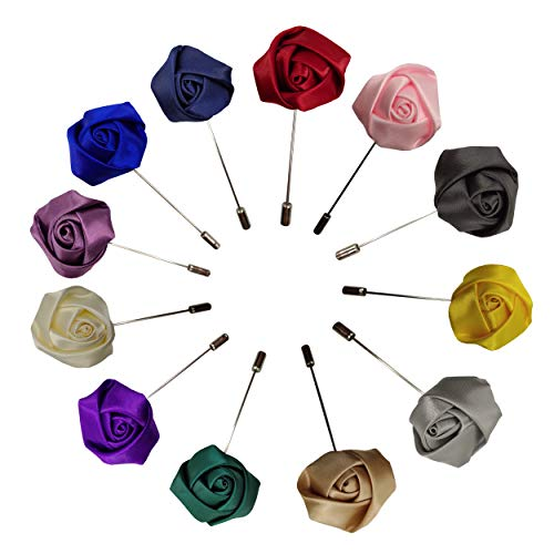 Sanrich Rose Boutonniere Men's Lapel Pins Satin Flower 12 Pack Groom Wedding Boutonniere Suit Brooch Outfit Accessories (assorted colors) ()