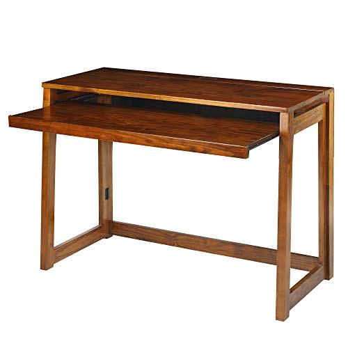 Casual Home Folding Desk with Pull-Out & USB Ports
