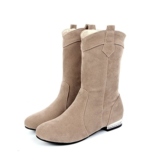 Allhqfashion Women's Low-Top Solid Pull-On Round Closed Toe Low-Heels Boots Beige oZZZgplf