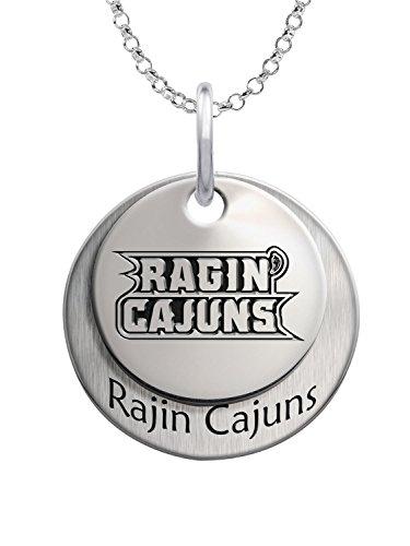 Louisiana Lafayette Ragin' Cajuns Sterling Silver Stacked Mascot Necklace - Lafayette College Mascot