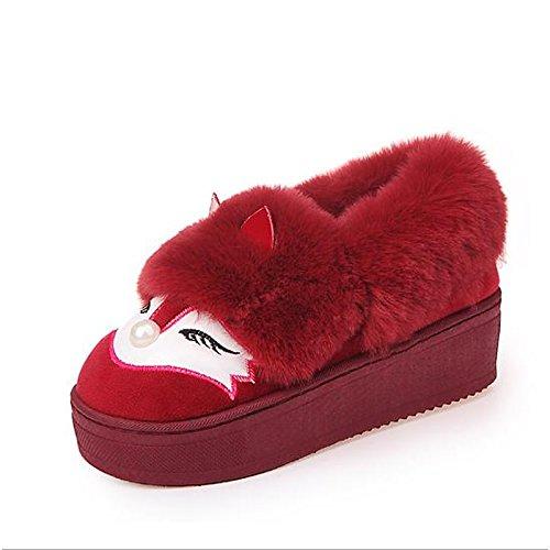 nieve Toe Zapatos caída HSXZ talón plano de invierno negro Casual de rosa de flocado Ronda botines botas Red mujer rojo botas botines v8dOgzdxqw