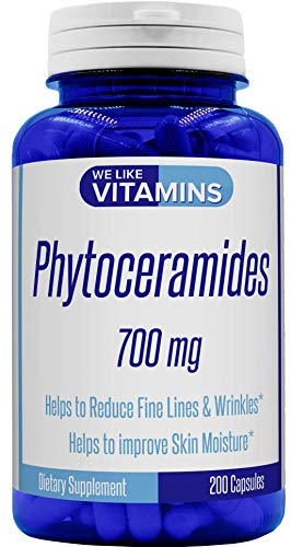 Phytoceramides 700mg - 200 Capsules All Natural Wheat Free and Plant Based - Phytoceramide Supplement - 700 mg per Serving - Skin Hydration, Repair, Rejuvination.
