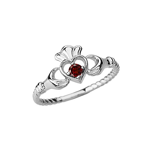Dainty 10k White Gold Open Heart Solitaire Garnet Rope Claddagh Promise Ring (Size 8) -