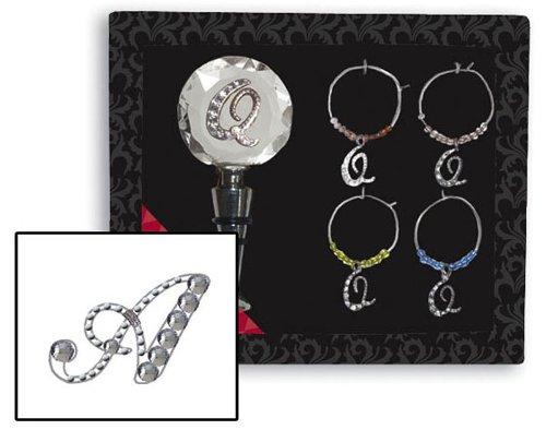 Gift Set: 1 Rhinestone Monogram Bottle Stopper + 4 Glass Charms (Glass Stopper Monogram Wine)
