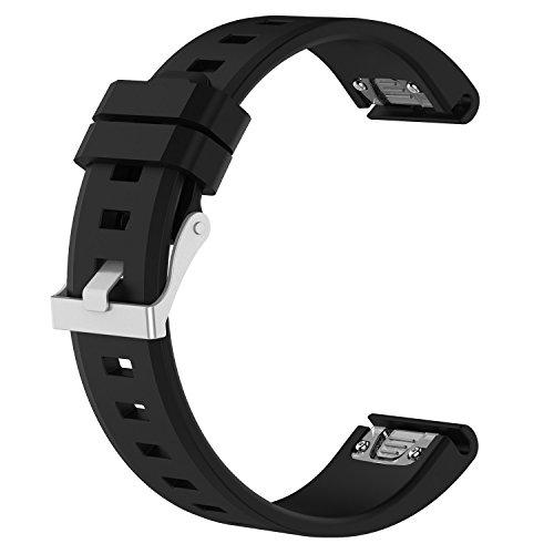 [New] Replacement Quick Release 22mm Width Silicone Straps w/Silver Buckle 47mm for Garmin Fenix5/Fenix 5 Plus/Forerunner 935/Quatix 5/Approach S60/Instinct Smart Watch(Black)