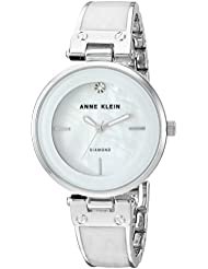 Anne Klein Womens AK/2513WTSV Diamond-Accented Silver-Tone and White Marbleized Bangle Watch
